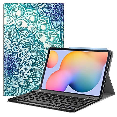 Fintie Tastatur Hülle für Samsung Galaxy Tab S6 Lite 10,4 SM-P610/ P615 2020 mit Stifthalter - Ultradünn Keyboard Case mit magnetisch Abnehmbarer drahtloser Deutscher Tastatur, smaragdblau