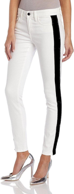 Elie Tahari Denim Bridgette Skinny White Black Tuxedo Jeans 26
