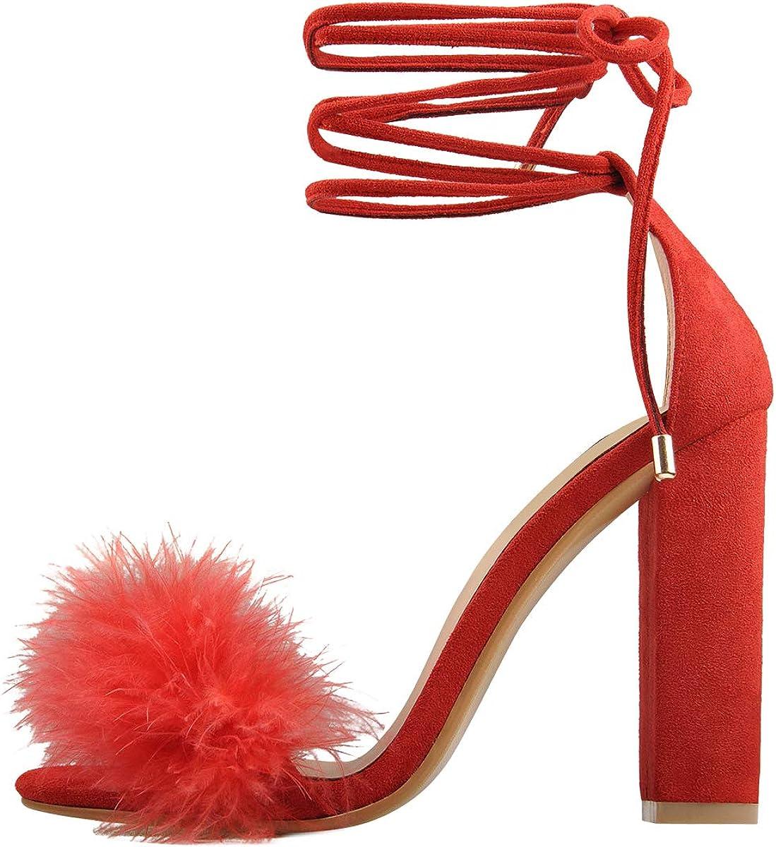 Richealnana Women's Fluffy Marabou Feather Heeled Sandals