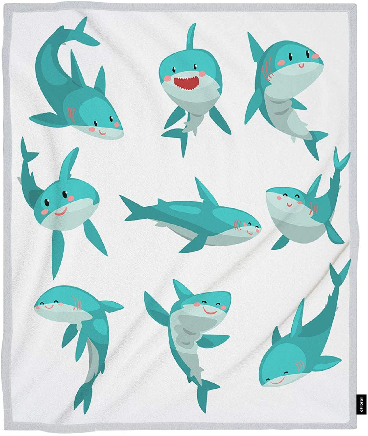 OFloral Shark Throw Blanket Cute Friendly Sharks Sea Animal Marine Life Decorative Soft Warm Cozy Blankets Home Decor for Bed Chair Sofa Couch 50x60 Inch