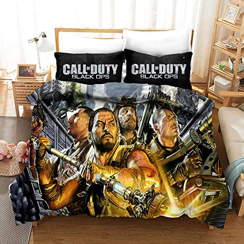 Duvet Cover King Size 240x200 cm Bedding set 3 Piece with 2 Pillowcases 50x75 cm Call of Duty 3D Printing Design Soft Microfiber Quilt Cover Set with Zipper