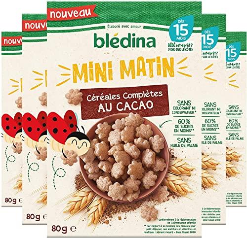 Blédina Mini Matin, Céréales complètes pour bébé, Dès 15 Mois, Cacao, 80g (Lot de 5)