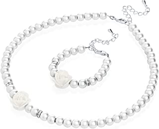 Flower Girl White Simulated Pearls Flower Necklace with Bracelet Toddler Gift Set (GSTNB2-W)