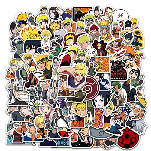 100 PCS Naruto Stickers, Anime Waterproof for Decal, Laptop Hydro Flask Water Bottle Car Cup Computer Guitar Skateboard Luggage Bike Bumper, Kid Gift