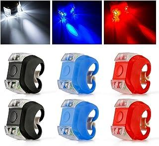 MHwan LED Silikon Fahrradlicht, Fahrrad Lichter, wasserdichte helle Fahrradleuchten vorne hinten mit Silikongehäuse für den Außenbereich, Kinderwagen, Fahrradsicherheit, 6 Stück, 4 x 4,8 x 4,8 cm