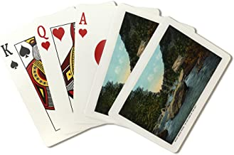 Blue Ridge Mountains, North Carolina - Rocky Broad River Scene - Vintage Halftone (Playing Card Deck - 52 Card Poker Size with Jokers)
