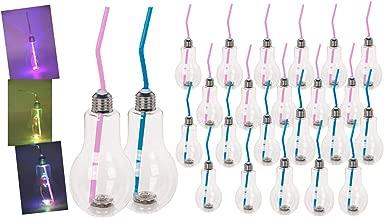Bada Bing 24er Set LED Trinkglas Glühbirne Mit Deckel Und Strohhalm Ca. 400 ml Farbwechselnde Lichter Party Glas Beleuchtet Blinkend Trinkbecher Cocktailglas 39