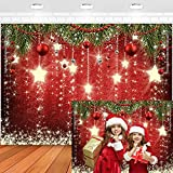 Maijoeyy 7x5ft Red Christmas Backdrop Sparkling Stars Christmas Backdrops for Photography Glittering Stars Kids Christmas Backdrop for Pictures New Year Backdrop for Party Decorations