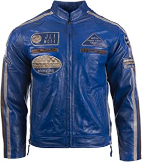 380e31183e1 Aviatrix Men's Super-Soft Real Leather Band Collar Patch Fashion Biker  Jacket (CXUS)