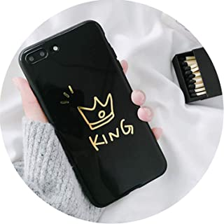 Glossy Crown Case for iPhone Cute Letter King Queen Soft Couples Back Cover,B Phone