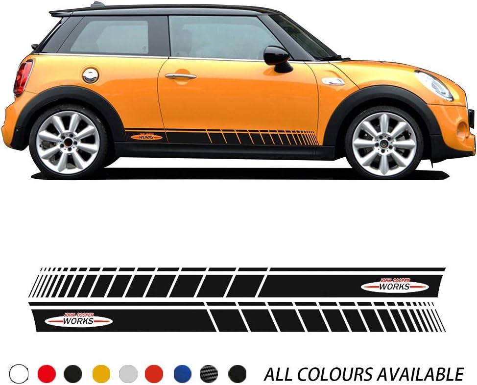 ZYHZJC Etiqueta engomada de la Falda de Rayas Laterales de la Puerta del Coche de 2 Piezas John Cooper Works Style Body Decal para Mini Cooper S F56 JCW 3-Door