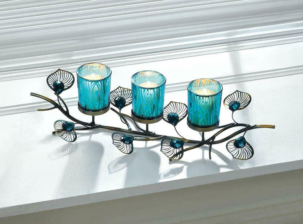Teal Blue Turquoise Peacock Candelabra Ta Max 67% OFF Candle Long 16