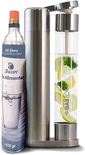 Gastone, gasatore per Acqua frizzante Colore Acciaio con Cilindro (bombola) Gas Co2, 60 lt Acqua gassata, Compatibile con Sistema Sodastream