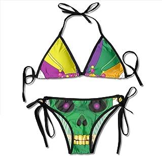 Trajes de baño con máscara de Calavera de Carnaval Bikinis Tanga Conjunto de Traje de baño para Playa Playa natación
