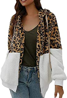 Macondoo Womens Zip Autumn Coat Leopard Sherpa Fuzzy Casual Hoodie Jacket