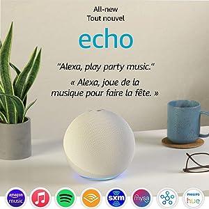 All-new Echo (4th Gen) | With premium sound, smart home hub, and Alexa | Glacier White