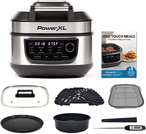 new arrival PowerXL Grill Air Fryer Combo Deluxe lowest 6 QT 12-in-1 Indoor Grill, Air outlet sale Fryer, Slow Cooker, Roast, Bake, 1550-Watts, Stainless Steel Finish outlet sale