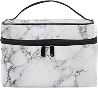AUUXVA Makeup Bag, Geometric Marble Texture Pattern Portable Travel Case Large Print Cosmetic Bag Organizer Compartments f...
