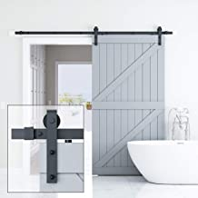 ELICIT 8FT Single Barn Door Hardware, Classic Design Standard Track with Upgraded Nylon Bearings, for 42in-48in Wide Sliding DoorPanel, Easy Installation,Basic J, Black