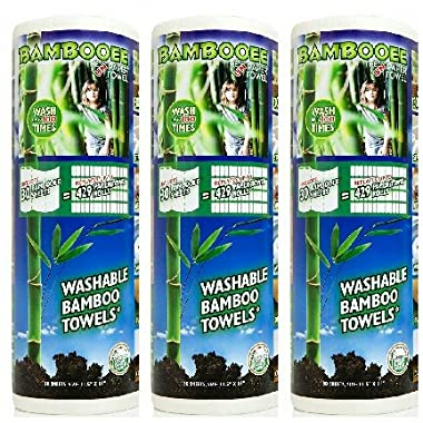 Bambooee - The Original Reuseable & Machine Washable Rayon from Bamboo Paper Towel Replacement As Seen on Shark Tank - We plant a tree with every roll we sell - 30-Sheet Rolls (3 Rolls)