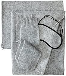 luxury travel gifts Sofia 100% Cashmere Jersey Travel Set with Blanket, Eye Mask and Socks