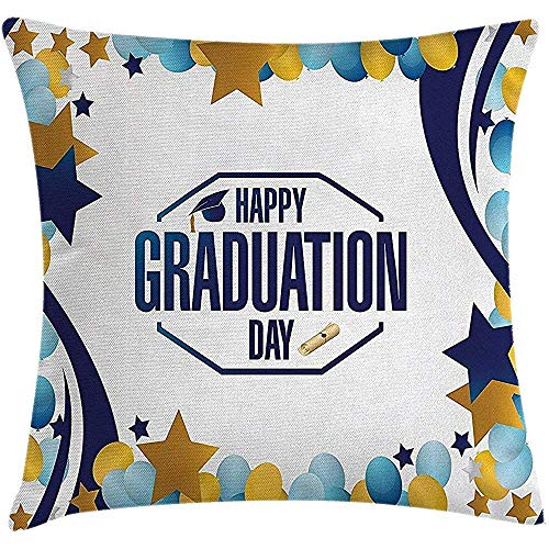 Kussenhoes Gradu Gelukkig Mooi Gradu Dag Party Logo Met Sterren Ballonnen Linnen Art Afbeelding Geel Blauw Kleurrijke Kussensloop met rits Zakelijk Decor Vierkant Thuis Gooi Kussen Hoezen Kussen