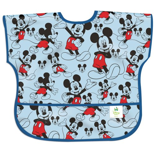 Bumkins Junior Bib, Short Sleeve Toddler Bib, Smock for Kids 1-3 Years, Waterproof Fabric – Disney Mickey Mouse Classic