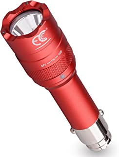 MCCC 250 Lumens Small LED Rechargeable Car Emergency Flashlight for 12 Volt Car Cigarette Lighter Vechicle Charge, Portable Mini Torch Light with Car Charger and Outdoor Survival Tool for Camping