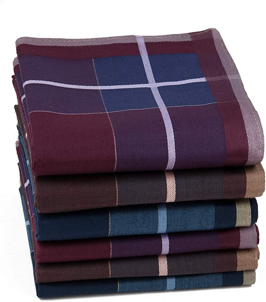 Houlife Men's 100% Cotton Striped Checked Pattern Handkerchief with Assorted Color Vintage Hankie
