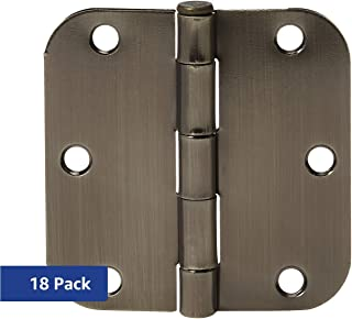 AmazonBasics Rounded 3.5 Inch x 3.5 Inch Door Hinges, 18 Pack, Antique Brass