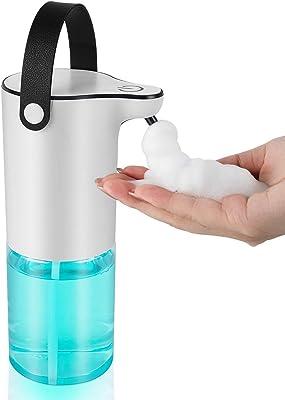 ソープディスペンサー Nefuture 自動泡非接触型 (320ml) 可充電バッテリー付き 掛け型オートソープディスペンサー 多種類の液体に適用 半透明ボトル 洗面所/キッチン/学校などの公共の場所に適用