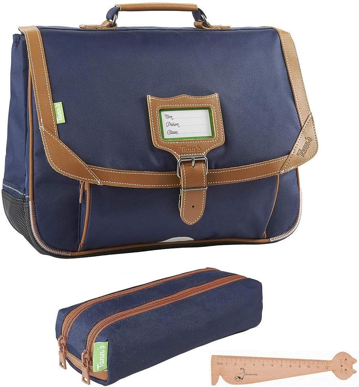 TANN'S Schulranzen 35 cm Les Incontournables Blau Marine  + 1 Doppeltasche passender Federmppchen + 1 Blaumie Stift