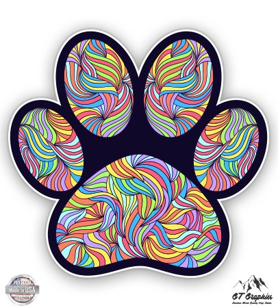 GT Graphics Paw Print Cute Colorful Tangle Design - 5