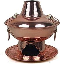 YRHH Pot Chaud Au Charbon De Bois Traditionnel Chinois Ancien De Pékin, Artisanat en Cuivre Fondue Chinoise en Cuivre, Car...