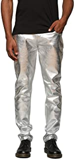Mens Metallic Shiny Jeans Party Dance Disco Nightclub Pants Straight Leg Trousers