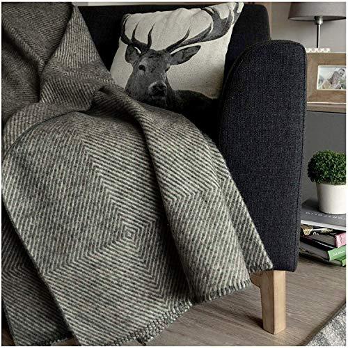 Linen & Cotton Dicke Warme Decke Wolldecke Wohndecke Iceland ohne Fransen - 100% Reine Neuseeland Wolle, Anthrazit Grau Weiß (140 x 200 cm) Sofadecke Blanket Tagesdecke Plaid Sofa Lammwolle Schurwolle