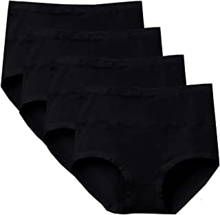 Bossail Womens Comfort Cotton Underwear 4 Pack High Waist Briefs Tummy Control Ladies Stretch Panties Underpants