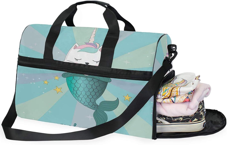 c794f4dec0a7 Magic Cat Unicorn Mermaid Sports Gym Bag with Compartment Travel ...
