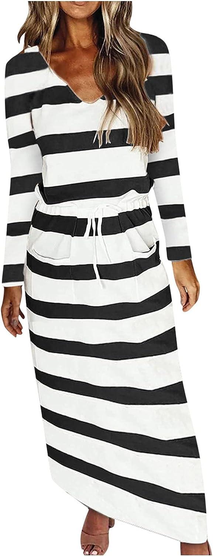 iQKA Women Long Dress Long Sleeve V Neck Stripe Print Pullover Dresses Elegant Midi Dress with Pockets Vestidos