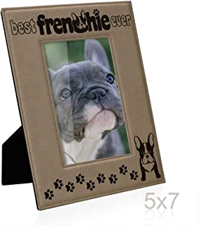Kate Posh Best Frenchie Ever Engraved Leather Picture Frame, French Bulldog Photo Frame, Pet Memorial Gifts, New Puppy Gifts, Dog Lover Gift, Paw Prints on My Heart (5x7 Vertical)