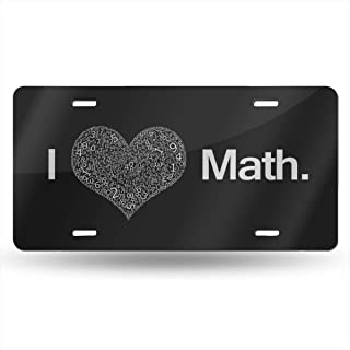 Yaoqin88 I Love Math License Plate Car Auto Tag Aluminum Personalized Metal Sign for Car Decoration White 6