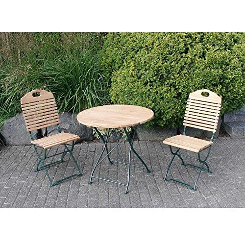 Gartenmoebel Garnitur BAD TÖLZ 3-teilig grün klappbar / 2x Stuhl, 1x Tisch, Biergartendesign, Robinienholz