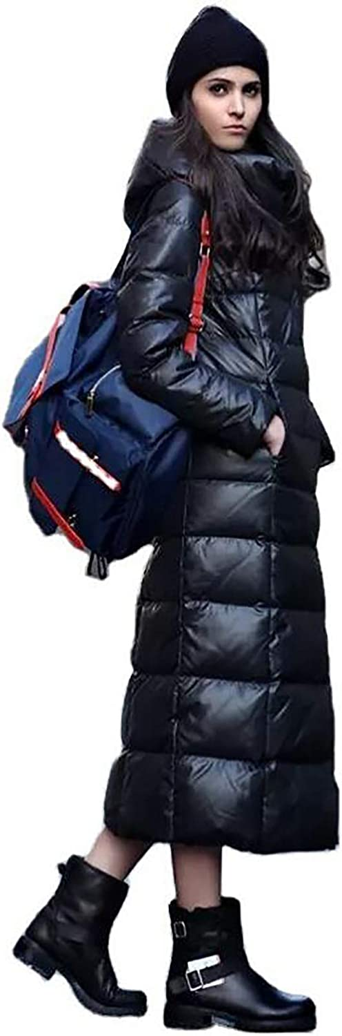 Long Down Jacket,Glossy Hooded Warm Coat Over The Knee Zipper Jacket Windproof Warm Long Length Puffer Jacket for Women (Color : Black, Size : Medium)