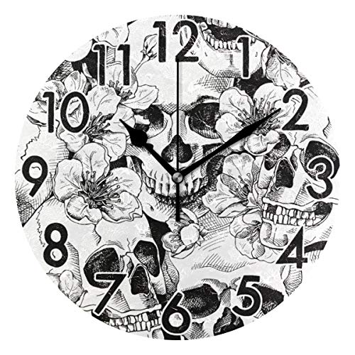 Chic Houses Skull Flower Clock Black and White Gothic Bathroom Kitchen Wall Clock Non Ticking Quiet Easy to Read for Bedroom Decor 8 Inch Round Clock 2031557