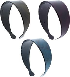 Bright Colored 2 Plastic Headband with Black Strokes -Set of 3-Aqua Dark Pink Olive