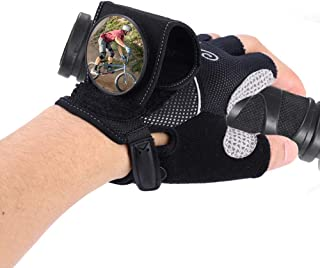 Fsskgx Cycling Gloves, Half-Finger Bicycle Wrist with Safety-Rear View Mirror Biking Accessories