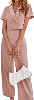 SheIn Women's 2 Pieces Lapel Collar Short Sleeve Crop Top Blazer and Pants Suit Set Outfits
