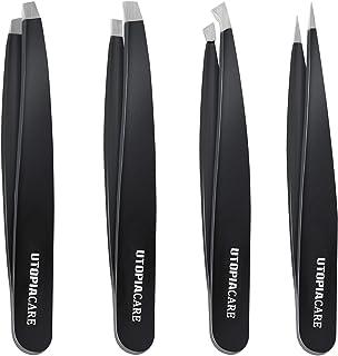مجموعه ای از تیغه های ضد زنگ فولاد ضد زنگ (4 قطعه) - موچین های دقیق برای موهای زائد، موهای صورت، Splinter، Blackhead و Tick حذف توسط Utopia Care