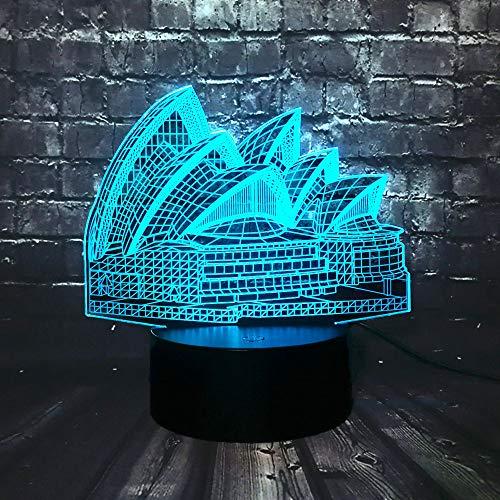 Nieuwe Sydney Opera House 3D USB Led-Licht 16 Kleurrijke Veranderende Sfeer Architectonisch Ontwerp Creatief Souvenir Cadeau Huisdecoratie Gadget Lamp