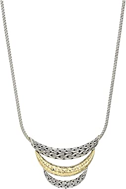 Classic Chain Arch Hammered Small Bib Necklace